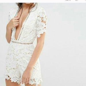 Missguided Pants - Missguided White Laser Cut Lace Romper